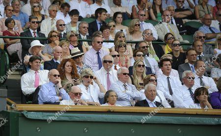 Wimbledon Tennis Championships 2009 Roger Federer V Ivo Karlovic Royal Box - Des Lynam Kate Winslet Sam Mendes Rebekah Wade Simon Fuller.