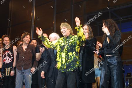 """THE PREMIERE OF """"HAIR"""" IN VIENNA. IT IS THE FIRST TIME IN MANY YEARS SINCE THE LEGENDARY COMPOSERS JAMES RADO (PICTURED IN BRIGHT SHIRT) AND GALT McDERMOT HAVE COME TOGETHER WITH JAMES RADO DANCING WITH KIM DUDDY (CHOREOGRAPHER) AUSTRIA. 11/03/01"""