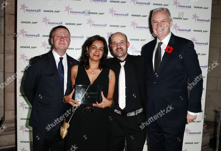 CEO of Stonewall Ben Summerskill with the Broadcast of the year award to - Marring Mum and Dad - CBBC