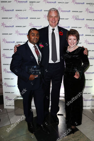 CEO of Stonewall Ben Summerskill with the Hero of the Year Award winner Lord Alli Politician of the Year to Tina Stowell, Baroness Stowell of Beeston