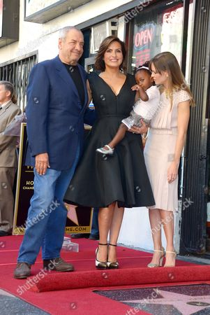 Dick Wolf, Mariska Hargitay and Hilary Swank with daughter Amaya Josephine Hargitay Hermann
