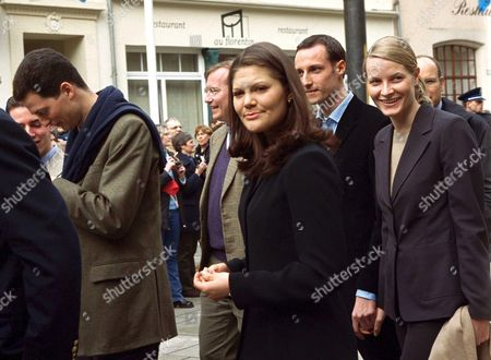 PRINCE JEAN OF LUXEMBOURG, PRINCESS VICTORIA OF SWEDEN, HAAKON MAGNUS AND FIANCEE METTE MARIT TJESSEM HOIBY