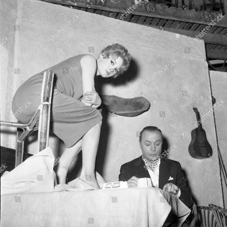 Actress Brigitte Bardot With Charles Boyer During Filming Of 'la Parisienne'.