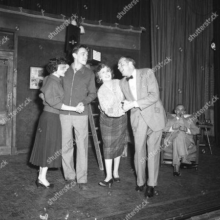 Stock Picture of Sir Laurence Olivier Doing A Song And Dance Routine In John Osbourne's 'the Entertainer' At The Royal Court Theatre. Dorothy Tutin As Jean Richard Pasco As Frank Vivienne Drummond As Gladys.