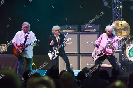 Stock Photo of Mott The Hoople - Mick Ralphs, Ian Hunter and Pete Overend Watts
