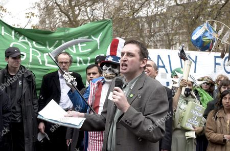 LEADER OF THE GREEN PARTY AND GLA, DARREN JOHNSON ON THE MARCH FROM THE AMERICAN EMBASSY