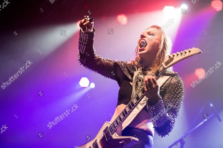 Lzzy Hale of Halestorm performing live in Rome as opening act of Alter Bridge gig, at the Atlantico Live.