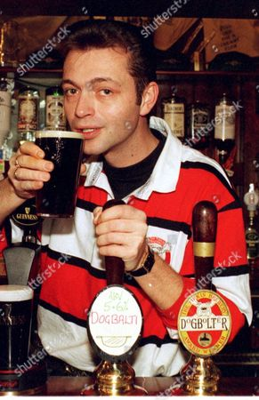 Richard Gough Licensee Of The Faculty & Firkin Pub Birmingham Here With Pint Of Dogbalti Curry Beer 1997.