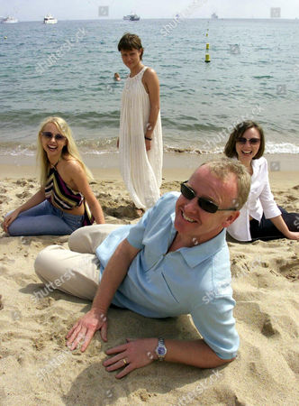 LES DENNIS IN CANNES TO PROMOTE HIS NEW COMEDY 'LARGE' WITH YOUNG NEW COMERS (L-R) MIRREN DELANEY, EMMA CASTLEWOOD AND MELANIE GUTTERIDGE
