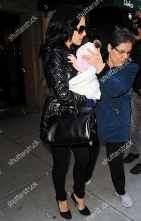 Editorial image of Hilaria Baldwin and her baby daughter Carmen Gabriela leaving her house in Manhattan, New York, America - 13 Nov 2013