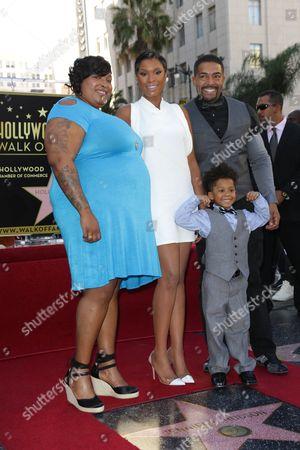 Jennifer Hudson, sister Julia King with David Otunga and son David Daniel Otunga Jr.