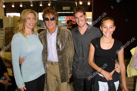KELLY EMBERG AND HER EX ROD STEWART WITH GAVIN BRODIN AND ROD'S DAUGHTER RUBY.
