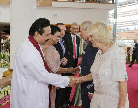 President Mahinda Rajapaksa and wife Shiranthi Rajapaksa greeting Prince Charles and Camilla Duchess of Cornwall