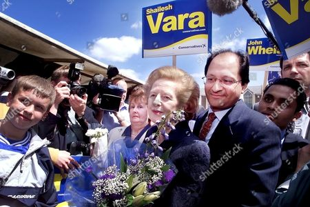 Lady Thatcher campaigning with Shailesh Vara for the general election in Market Square