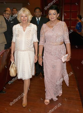 Stock Picture of Camilla Duchess of Cornwall and Shiranthi Rajapaksa