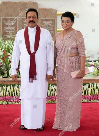 President Mahinda Rajapaksa of Sri Lanka and his wife Shiranthi Rajapaksa