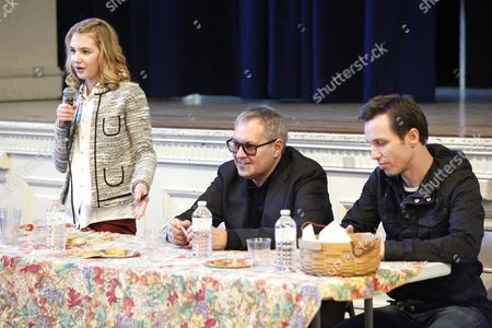 Stock Image of Author Markus Zusak, director Brian Percival and actress Sophie Nélisse
