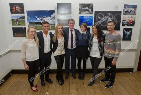 The Magnificent Seven Athletes At The Project Celebration Night. The Athletes Progress Has Been Followed By The Daily Mail For The Last Seven Years And Photographed By Andy Hooper. L-r: Gemma Howell Tom Daley Louise Watkin Andy Hooper Emily Pidgeon Shanaze Reade And Louis Smith. (giles Scott Was Absent).
