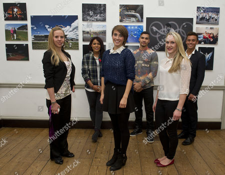 The Magnificent Seven Athletes At The Project Celebration Night. The Athletes Progress Has Been Followed By The Daily Mail For The Last Seven Years. L-r: Louise Watkin Shanaze Reade Emily Pidgeon Louis Smith Gemma Howell And Tom Daley. (giles Scott Was Absent).