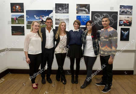 The Magnificent Seven Athletes At The Project Celebration Night. The Athletes Progress Has Been Followed By The Daily Mail For The Last Seven Years. L-r: Gemma Howell Tom Daley Louise Watkin Emily Pidgeon Shanaze Reade And Louis Smith. (giles Scott Was Absent).