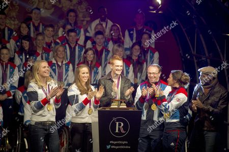 The Regent Street Christmas Light Switch On 2012. Team Gb And Paralympics Gb Athletes Switch On The Christmas Lights. Front L-r: Anna Watkins Helen Glover Greg Rutherford Barney And Sarah Storey And Singer Noah Stewart. Dame Sarah Storey January 2013.