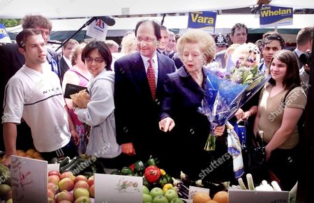 LADY MARGARET THATCHER CAMPAIGNING FOR THE GENERAL ELECTION WITH CANDIDATE SHAILESH VARA