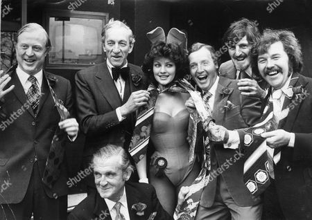 Raymond Baxter With Fellow Presenters L-r Nicholas Winterton Mp Raymond Baxter Carolyn Moore (london Bunny Girl Of The Year) Nicholas Parsons Jimmy Hill Dickie Davies And At Front The Marquess Of Bath Raymond Baxter Obe (25 January 1922 Oo 15 September 2006) Was A British Television Presenter And Writer. He Is Best Known For Being The First Presenter Of Tomorrow's World Continuing For 12 Years From 1965 To 1977. He Also Gave Radio Commentary At The Coronation Of Queen Elizabeth Ii The Funerals Of King George Vi Winston Churchill And Lord Mountbatten Of Burma And The First Flight Of Concorde.