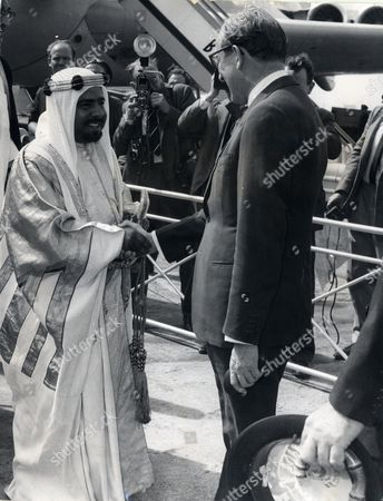 Sheikh Isa Bin Salman Al-khalifa Ruler Of Bahrain From 1961-1999 Seen Shaking Hands With Peter Carington 6th Baron Carrington At London Airport.