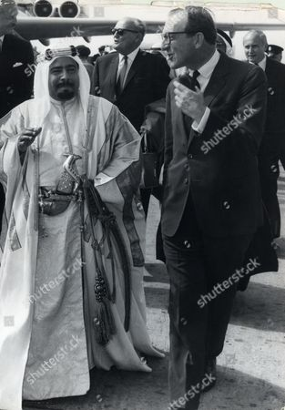 Sheikh Isa Bin Salman Al-khalifa Ruler Of Bahrain From 1961-1999 Seen Here At London Airport With Peter Carington 6th Baron Carrington..
