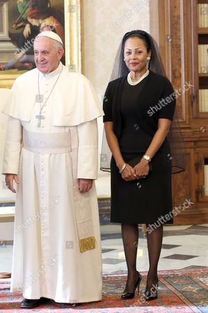 First Lady Bernadette Christie wife of Bahamas Prime Minister with Pope Francis I