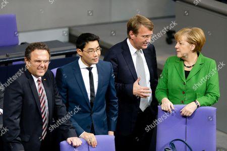 Hans-Peter Friedrich (CSU), German Minister of Interior, Philipp Roesler, Ronald Pofalla (CDU), German Chancellery Minister, Angela Merkel, German Chancellor.