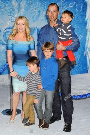 Stock Picture of Melissa Joan Hart, Mark Wilkerson and sons Mason Walter Wilkerson, Brady Hart Wilkerson, Tucker McFadden Wilkerson