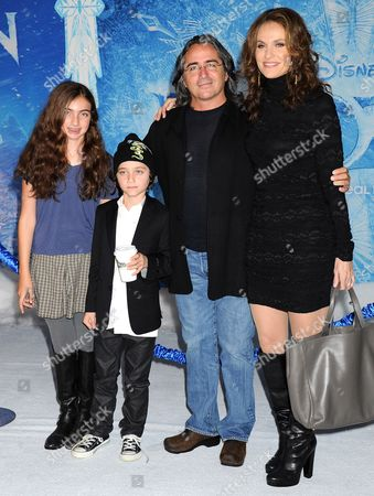Amy Brenneman, Brad Silberling and children Charlotte Tucker Silberling, Bodhi Russell Silberling