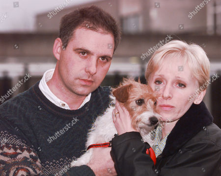 Stuart Smith And Alison Smith With Their Jack Russell Dog Gemma Who Was Being Walked By Kate Bushell When She Was Murdered Exwick Near Exeter 1997.