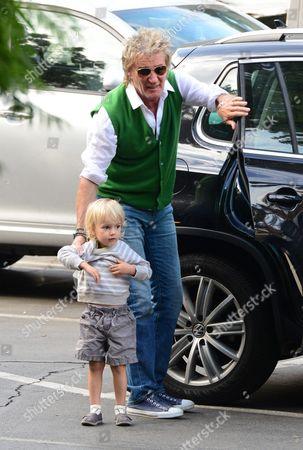 Rod Stewart taking son Aiden Stewart to school