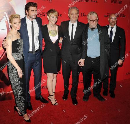 Elizabeth Banks, Liam Hemsworth, Jennifer Lawrence, Francis Lawrence, Philip Seymour Hoffman, Stanley Tucci