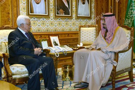 Mahmoud Abbas and Crown Prince Salman bin Abdulaziz Al Saud
