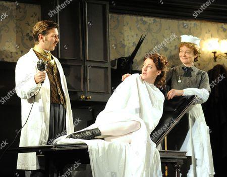 Jason Hughes as Dr Givings, Flora Montgomery as Sabrina, Sarah Woodward as Annie