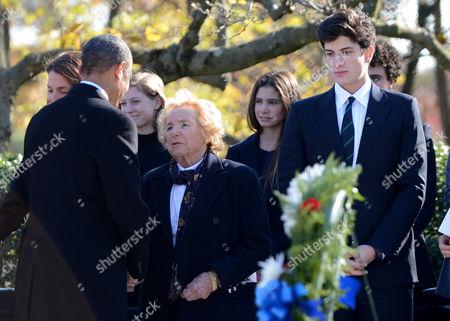 United States President Barack Obama talks with Ethel Shakel Kennedy at the gravesite