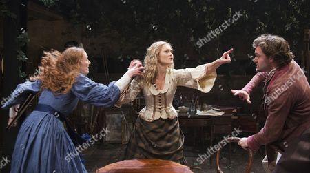 Emma West as Lizzie Siddal, Jayne Wisener as Annie Miller and Tom Bateman as Dante Gabriel Rossetti