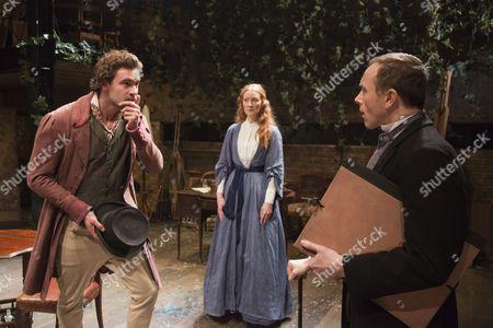 Tom Bateman as Dante Gabriel Rossetti, Emma West as Lizzie Siddal and Daniel Crossley as John Rushkin