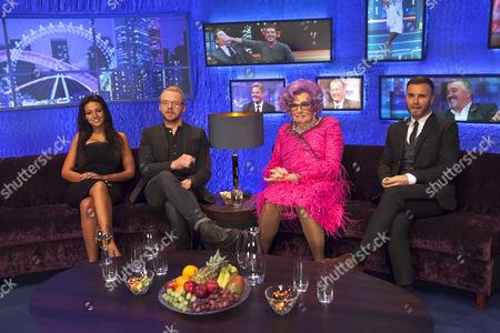 Stock Image of Simon Pegg, Michelle Keegan, Jonathan Ross, Dame Edna Everage and Gary Barlow