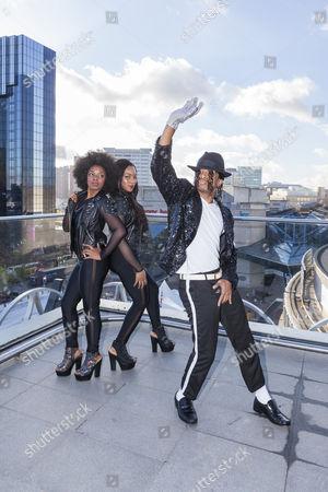 Stock Photo of Cleo Higgins, Rachel Adedeji, and Dak as Michael Jackson