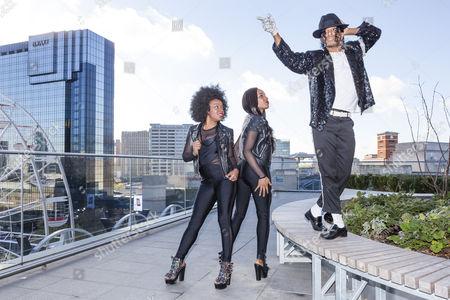 Stock Image of Cleo Higgins, Rachel Adedeji, and Dak as Michael Jackson
