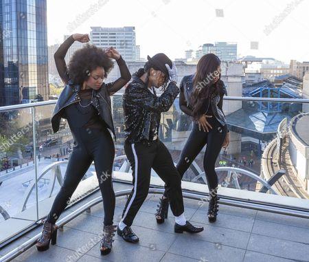 Stock Picture of Cleo Higgins, Dak as Michael Jackson, and Rachel Adedeji