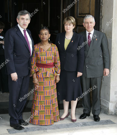 Doreen Lawrence Meets Guests Outside St Martin-in-the-fields Church In Trafalgar Square For A Memorial Service To Mark The 15th Anniversary Of The Murder Of Her Son Stephen. Pictured Are Justice Minister Jack Straw Mp Prime Minister Gordon Brown And Home Secretary Jaqui Smith Mp.