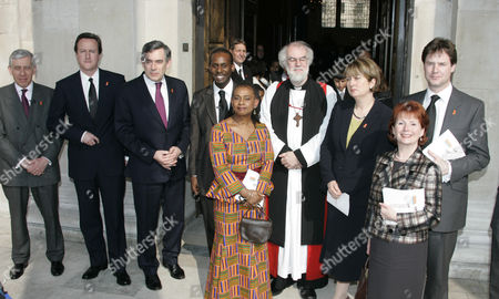 Doreen Lawrence Stands Outside St Martin-in-the-fields Church In Trafalgar Square With Guests After A Memorial Service To Mark The 15th Anniversary Of The Murder Of Her Son Stephen. Pictured (left To Right) Are Justice Minister Jack Straw Mp Leader Of Conservatives David Cameron Mp Prime Minister Gordon Brown Stuart Lawrence (brother Of Stephen) Doreen Lawrence Archbishop Of Canterbury Dr Rowan Williams Home Secretary Jaqui Smith Mp Communities Secretary Hazel Blears Mp And Leader Of Liberal Democrats Nick Clegg Mp.