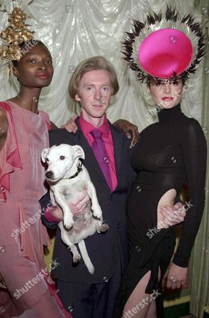 PHILIP TREACY WITH HONOR FRASER AND HIS DOG MR PIG