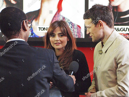 Stock Photo of Jenna-Louise Coleman and Matt Smith being interviewed by the BBC's Lizo Mzimba