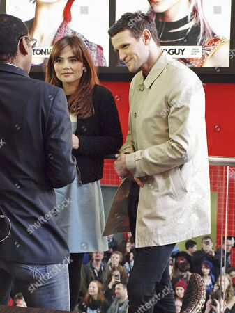 Jenna-Louise Coleman and Matt Smith being interviewed by the BBC's Lizo Mzimba